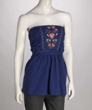 Royal Blue Embroidered Tube Top