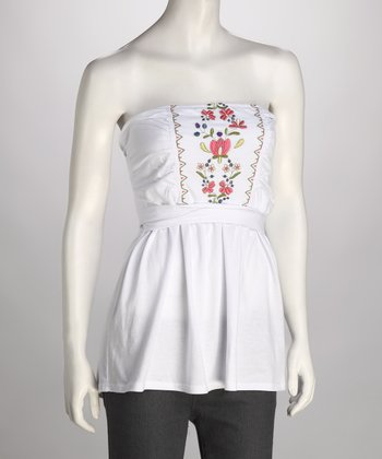 White Embroidered Tube Top