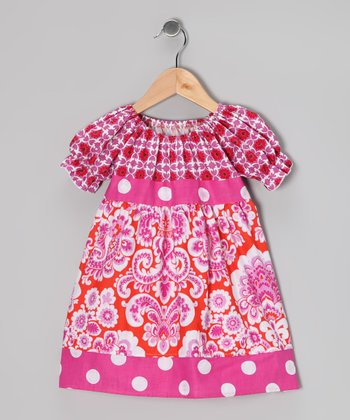 Pink Polka Dot Floral Babydoll Dress - Toddler & Girls