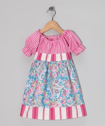 Pink & Blue Stripe Floral Babydoll Dress - Toddler & Girls