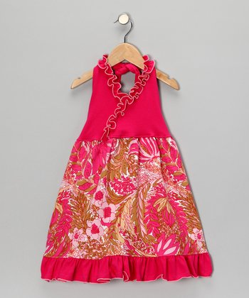 Hot Pink Wildflower Halter Dress - Toddler & Girls