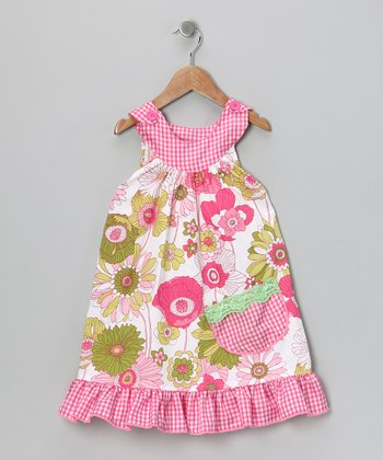 Pink Wildflower Yoke Dress - Toddler & Girls