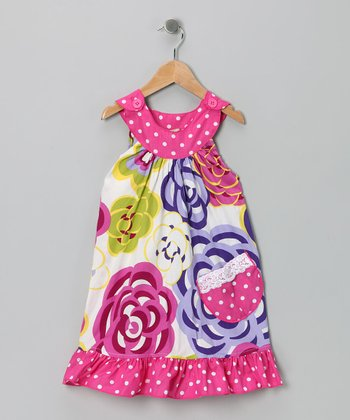 Hot Pink Mums Yoke Dress - Girls