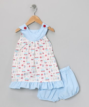 Blue Cherry Dress & Diaper Cover - Infant