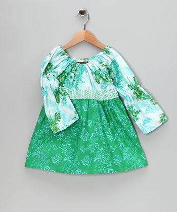 Green & Baby Blue Garden Dress - Girls
