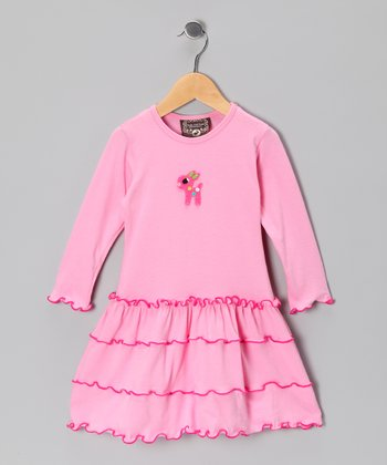 Baby Pink Deer Tiered Dress - Toddler & Girls