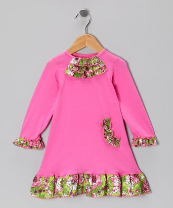 Pink Vine of Flowers Ruffle Dress - Infant & Toddler