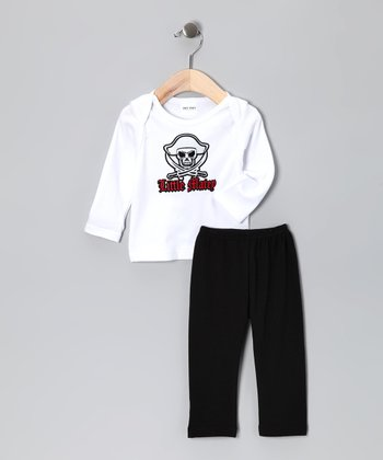 White 'Little Matey' Tee & Black Pants - Infant