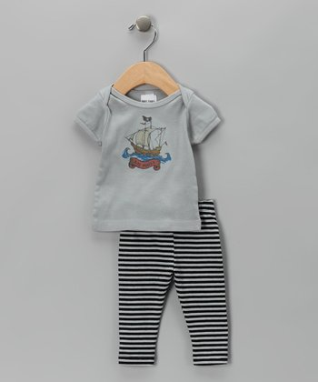 Gray & Black Stripe 'Aye Matey' Tee & Leggings - Infant