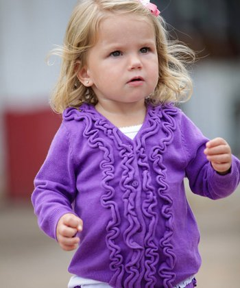 Purple Ruffle Cardigan - Infant