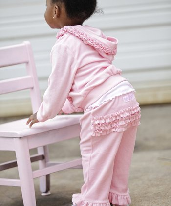 Pink Velour Ruffle Pants - Infant