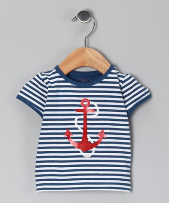 Navy & White Anchor Tee - Infant