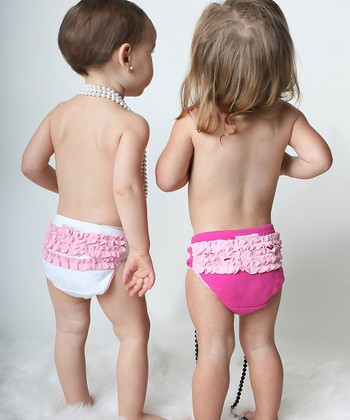 White & Pink Ruffle Underwear Set - Girls