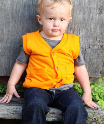 Orange Button-Up Vest - Infant & Toddler