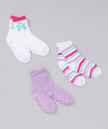 Hot Pink & Lavender Plush Socks Set