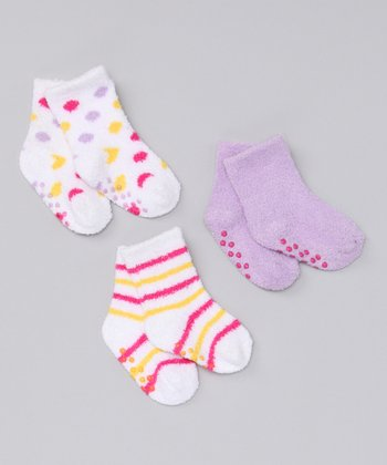 Yellow & Lavender Plush Socks Set
