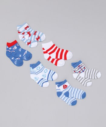 Red & Blue Sailor Socks Set