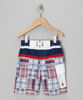Blue Plaid Junior Champ Swim Trunks - Boys