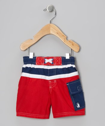 Red Junior Rowing Champ Swim Trunks - Boys