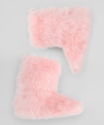 Light Pink Fuzzy Boot