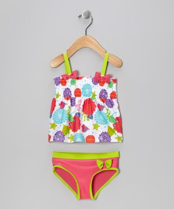 White & Lime Sea Wonder Shirred Tankini - Girls