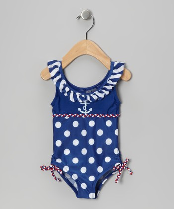 Blue & White Polka Dot Ruffle One-Piece - Infant & Toddler