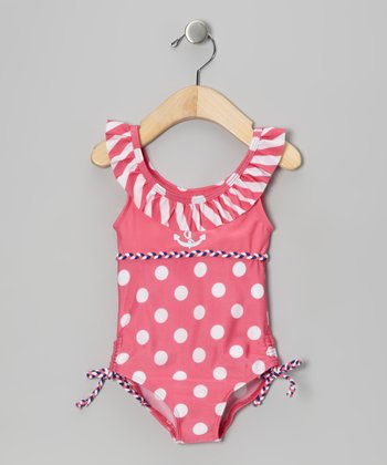 Pink & White Polka Dot Ruffle One-Piece - Infant