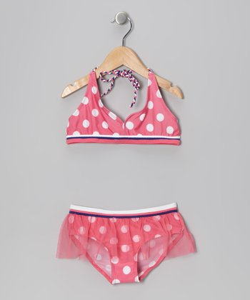 Pink & White Polka Dot Skirted Bikini - Toddler