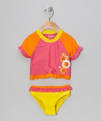 Pink Flower Rashguard Set - Infant