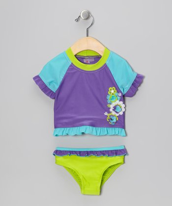 Violet Flower Rashguard Set - Infant