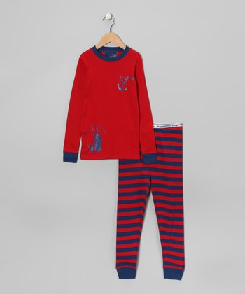 Red Rugby Pajama Set - Boys