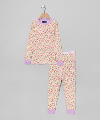 Yellow Floral Pajama Set - Girls