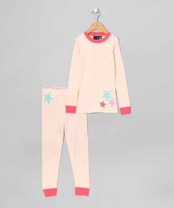 Cream Starfish Pajama Set - Girls