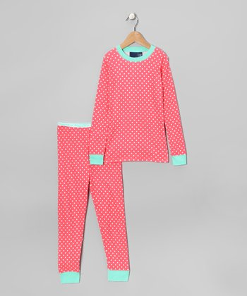 Coral Polka Dot Pajama Set - Girls