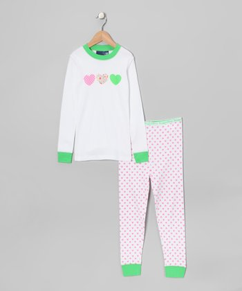 White & Green Heart Pajama Set - Girls