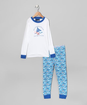 White & Blue Yacht Club Pajama Set - Boys