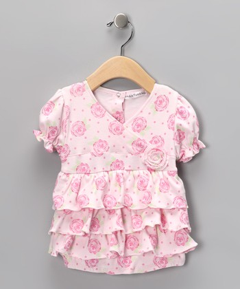 Rumble Tumble Pink Floral Skirted Bodysuit - Infant