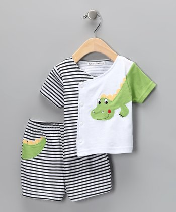 White & Black Stripe Dinosaur Wrap Top & Shorts - Infant