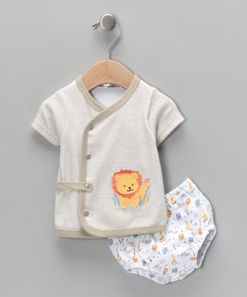 Taupe Lion Wrap Top & Diaper Cover - Infant