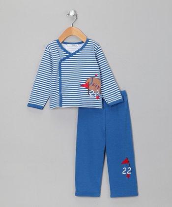 Rumble Tumble Blue Stripe Football Wrap Top & Pants - Infant