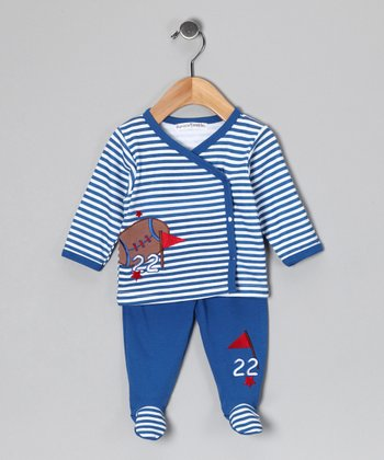 Blue Stripe Football Wrap Top & Footie Pants