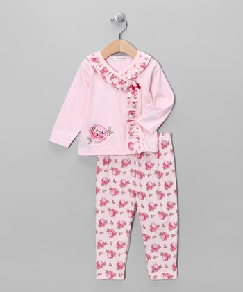 Pink Floral Wrap Top & Pants - Infant