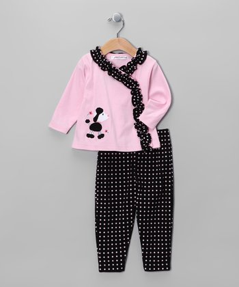 Pink & Black Poodle Wrap Top & Pants