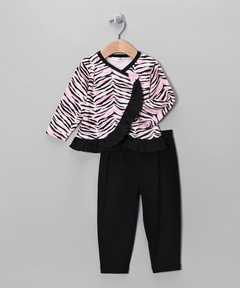 Pink & Black Zebra Wrap Top & Pants