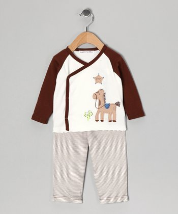 Brown Horse Wrap Top & Pants - Infant