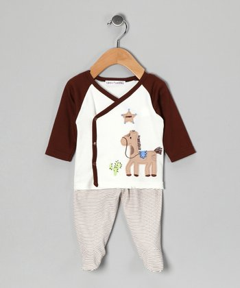 Brown Horse Wrap Top & Footie Pants