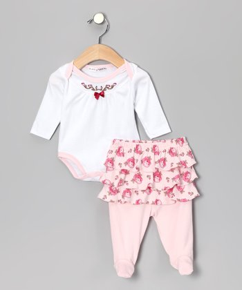 White & Pink Floral Bodysuit & Skirted Footie Pants - Infant
