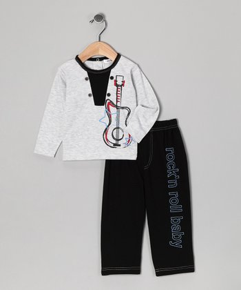 Black & Gray Guitar Top & Pants - Infant