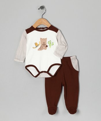 Brown Boot Bodysuit & Footie Pants - Infant