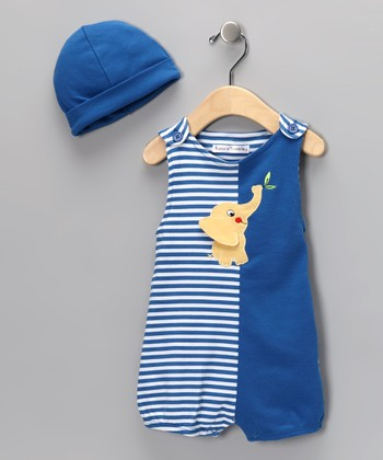 Royal Blue Stripe Elephant Romper & Beanie - Infant